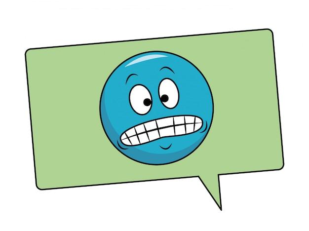 Émoticône de sourire forcé dans une bulle