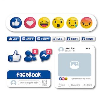 Émoticônes et boutons facebook