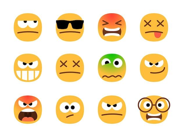 Émoticônes de colère. ensemble d'emoji en colère