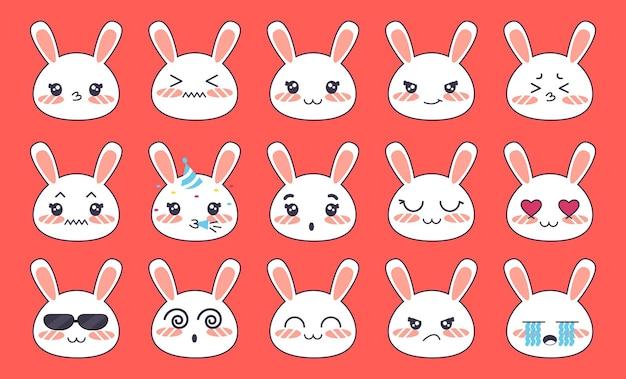 Émoticônes avec une collection emoji de lapin blanc