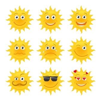 Émoticônes du soleil. collection de dessins animés de soleil souriant