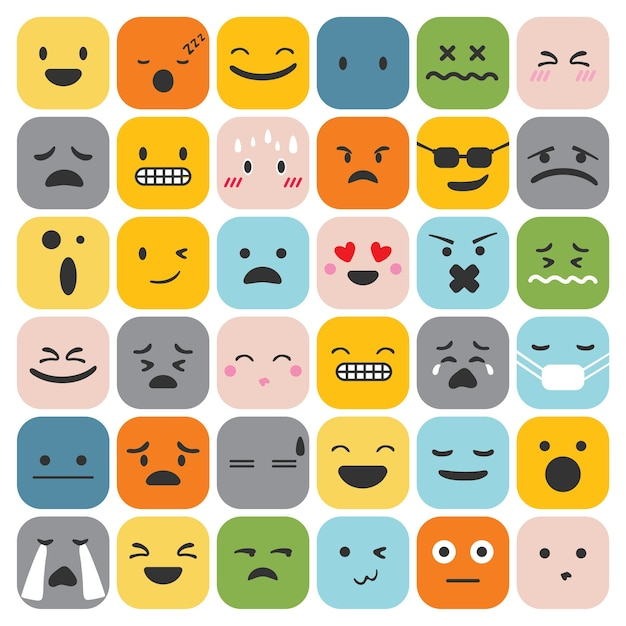 émoticônes emoji définir la collection de sentiments d'expression du visage