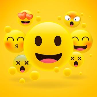 Émoticônes jaunes réalistes sur jaune