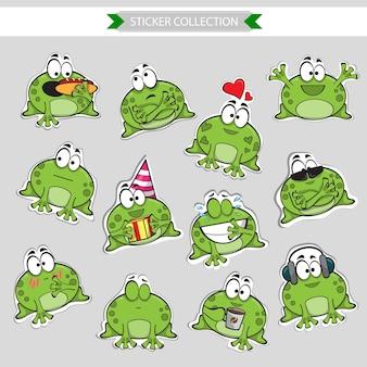 Émoticônes de mascotte de grenouille - ensemble d'autocollants de vecteur