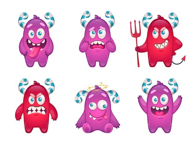 Émoticônes de monstre de dessin animé sertie de personnages drôles de griffonnage de bêtes enfantines folles isolées