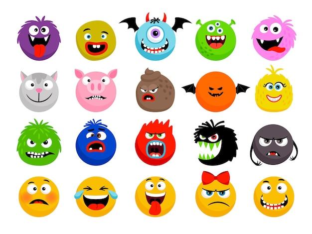 Émoticônes de monstres et d'animaux. monstres drôles de dessin animé, visages de smileys d'animaux mignons