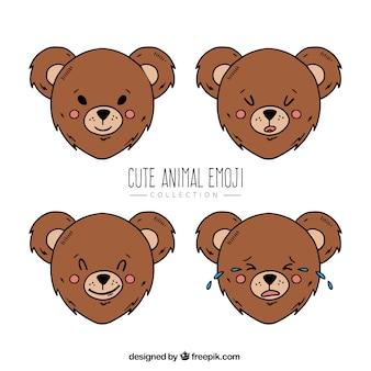 Émoticônes ours avec quatre expressions faciales