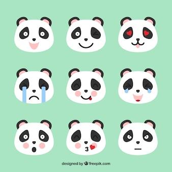 Émoticônes de panda avec des détails rose