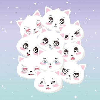 Émoticônes de personnage de chats mignons dessin animé fait face à des animaux