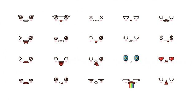 Émoticônes de sourire kawaii. emoji japonais