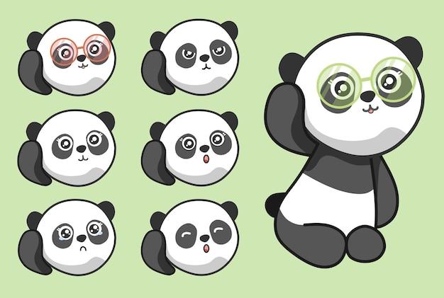 Émotion mignonne de visage de panda avec des lunettes