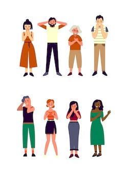 Émotion de peur sur le visage humain. les gens de race et de sexe différents ont peur de quelque chose. les gens exprimant des émotions.