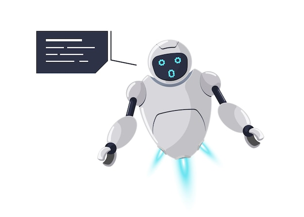 Émotion de surprise de personnage de robot sympathique mignon. la mascotte de chatbot blanc futuriste surprend une erreur inattendue avec une bulle de dialogue. communication de bot en ligne de dessin animé technique. discussion sur l'aide à l'ia robotique. vecteur