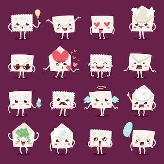 Émotions de caractère enveloppe face à illustration vectorielle.