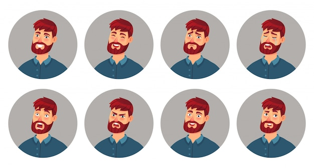 Émotions faciales de caractère masculin. visage d'homme souriant heureux, expression de colère et différents visages d'émotion jeu d'illustration de vecteur de dessin animé