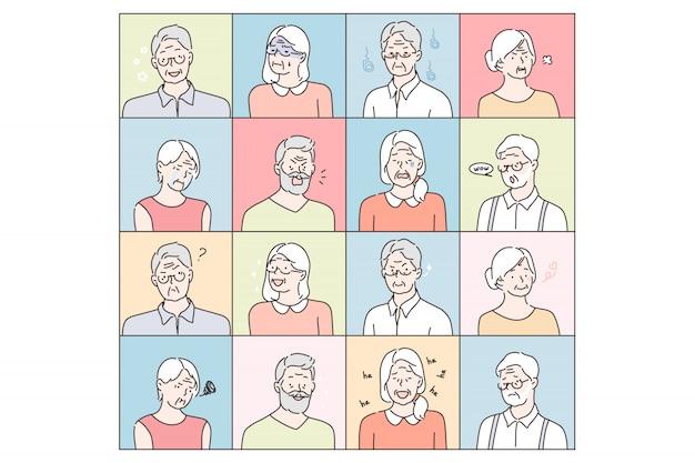 Émotions de personnes âgées mis concept