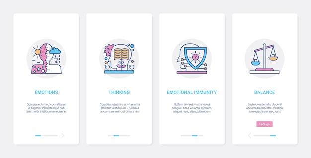 Émotions de profil de tête humaine et équilibre de pensée ux ui ensemble d'écran de page d'application mobile