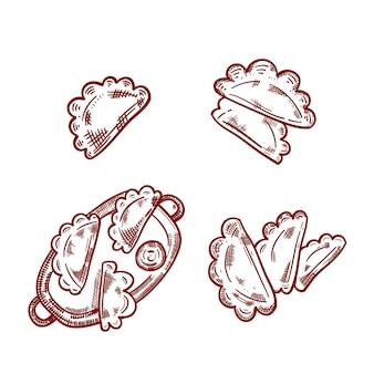 Empanada contour défini sur fond blanc