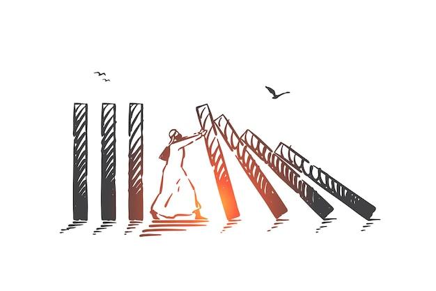 Empêcher la destruction et le chaos, maintenir l'illustration de croquis de concept de stabilité