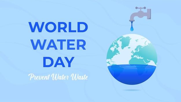 Empêcher l'illustration du gaspillage d'eau avec la carte de la sphère du monde et les gouttelettes d'eau