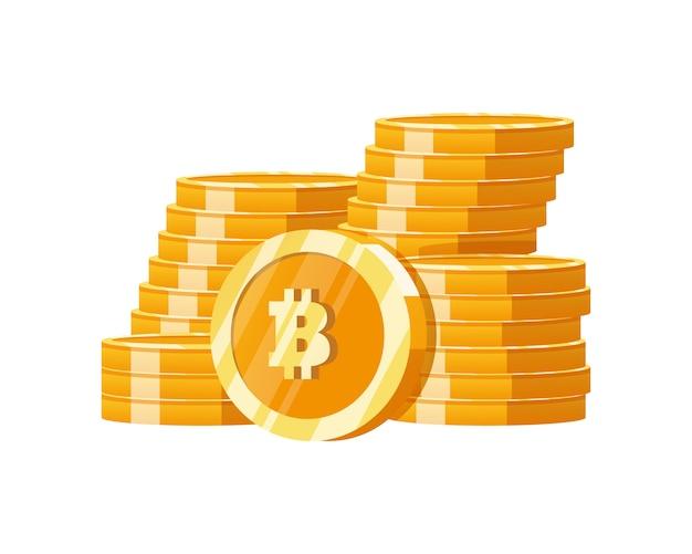 Empiler de l'argent numérique avec des bitcoins d'or de montagne