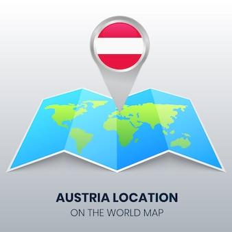 Emplacement de l'autriche sur la carte du monde, icône de broche ronde de l'autriche