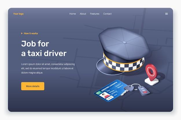 Emplacement de la broche rouge isométrique, capuchon du conducteur, permis de conduire et clé. modèle de page de destination.