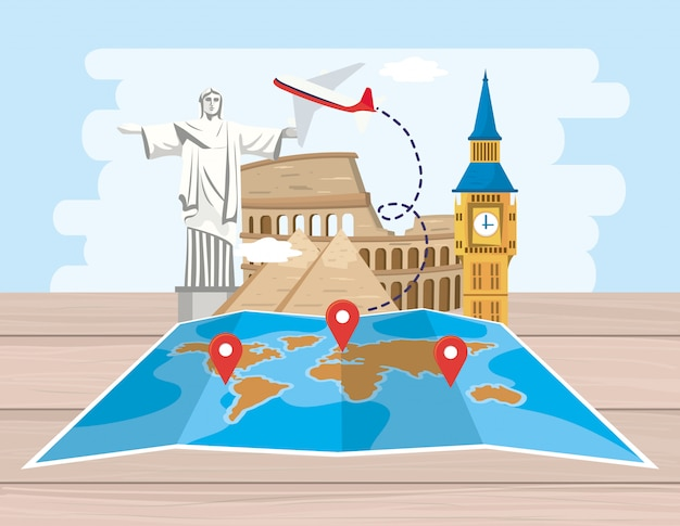Emplacement de la carte globale avec destination avion et aventure
