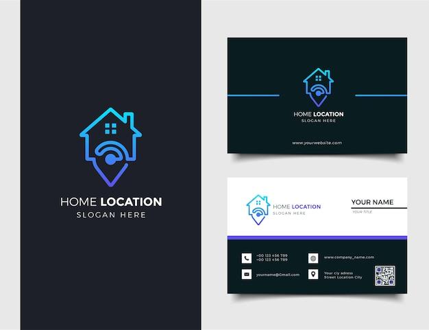Emplacement du domicile avec logo de marqueur maison et carte et modèle de carte de visite