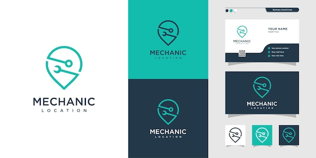 Emplacement de mécanicien logo et carte de visite conception de broches emplacement carte de service réparation vecteur premium