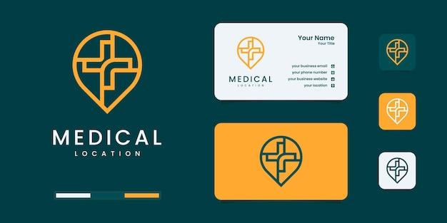 Emplacement médical de symbole avec des modèles de conception de logo de style art en ligne