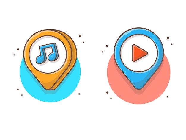 Emplacement de la musique avec note de musique. icône de pointeur de carte musique pin blanc isolé