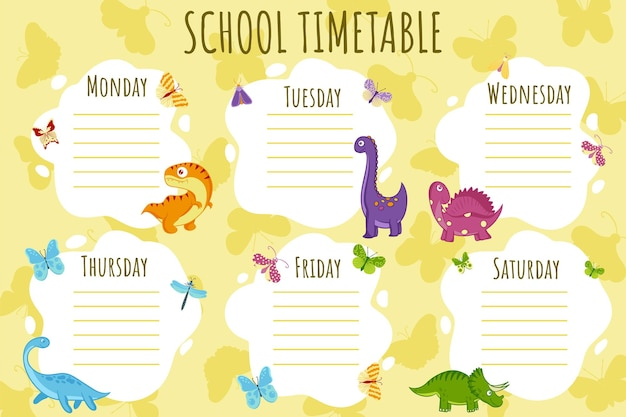 Emploi du temps scolaire. modèle vectoriel d'horaire hebdomadaire pour les écoliers, décoré de dinosaures colorés, de papillons et de palmiers.