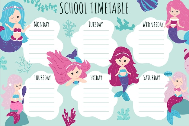 Emploi du temps scolaire. modèle vectoriel d'horaire hebdomadaire pour les écoliers, décoré d'éléments du monde sous-marin, de sirènes, de coraux, d'algues, de coquillages.
