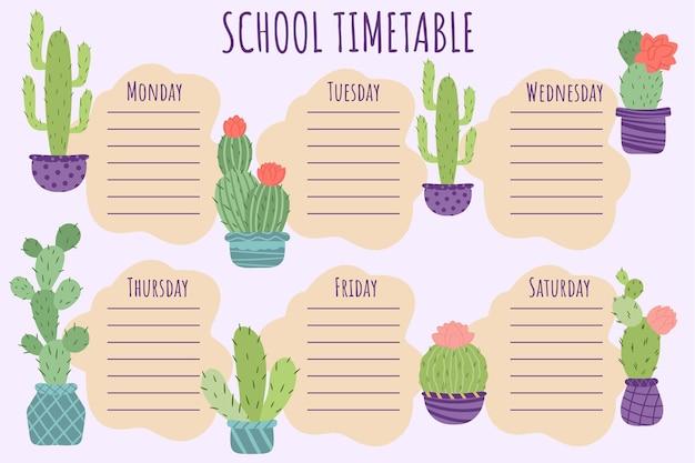 Emploi du temps scolaire. modèle vectoriel d'horaire hebdomadaire pour les écoliers, décoré de plantes, de cactus en pots.