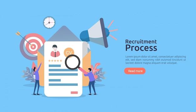 Emploi d'embauche, recrutement en ligne avec caractère de personnes. entretien d'agence. sélectionnez le processus de reprise.