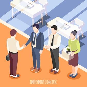 Emploi isométrique avec le personnel rencontrant le nouvel employé en illustration vectorielle intérieure de bureau