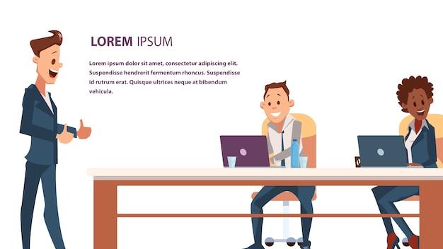 Employé de bureau assis au travail travail par ordinateur portable