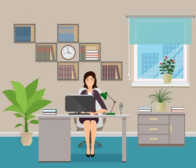 Employé de bureau assis sur un lieu de travail à la table avec ordinateur portable. caractère de femme d'affaires à l'intérieur du bureau