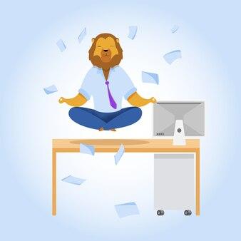 Employé de bureau avec clipart de méditation tête de lion