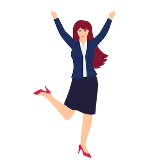 Un employé de bureau en costume d'affaires saute de joie les mains en l'air.