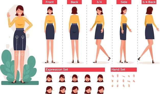 Employé de bureau féminin debout avec diverses poses et gestes de la main pour la présentation de l'entreprise
