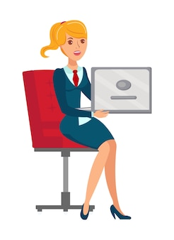Employé de bureau féminin plat vector illustration