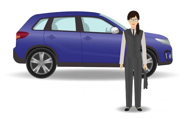 Employé de bureau femme avec auto sur blanc