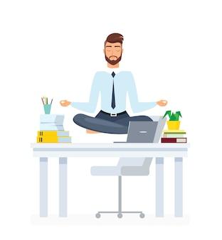 Employé de bureau de méditation homme d'affaires pratiquant le personnage de dessin animé d'yoga
