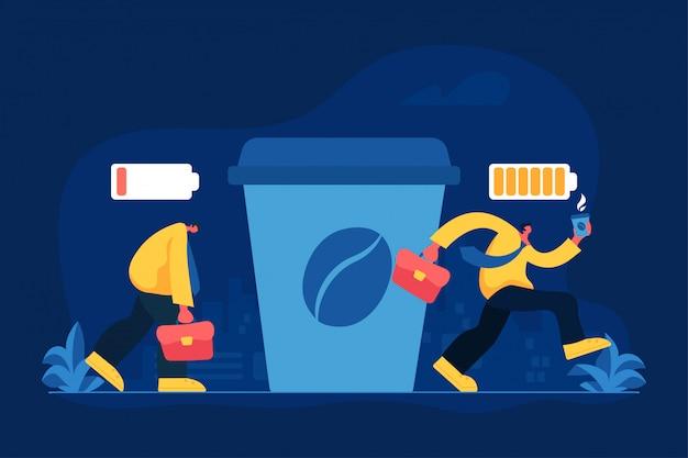 Employé de bureau pause café plat vector illustration