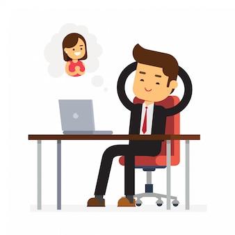 Employé de bureau rêvant d'une réunion amoureuse