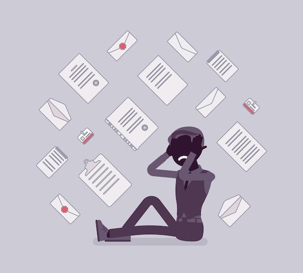 Employé de bureau et surcharge de paperasse. jeune employé épuisé par les documents de travail courants, les rapports, le flux de lettres commerciales. illustration de dessin animé de style plat et ligne art vectoriel, silhouette noire