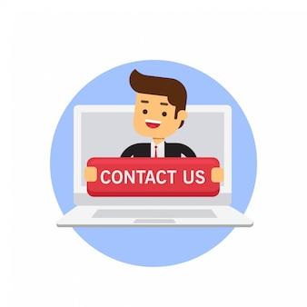 Employé de bureau tenant grand contactez-nous connectez-vous à l'ordinateur portable