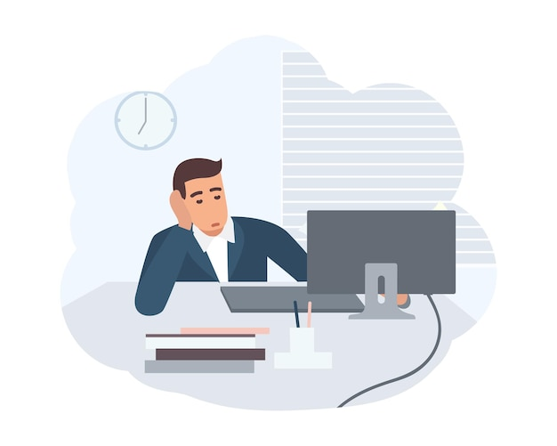 Employé de bureau vêtu d'un costume intelligent assis au bureau et travaillant sur ordinateur. commis sur son lieu de travail. scène de la vie quotidienne d'une personne ordinaire. illustration vectorielle colorée en style cartoon plat.
